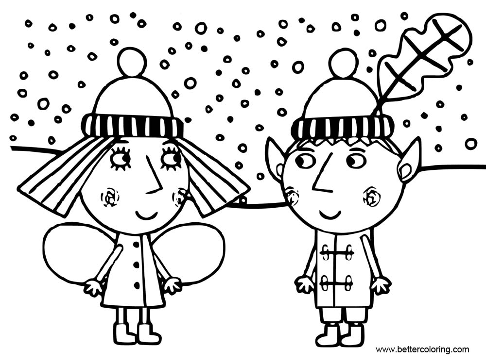 Free Ben And Holly Coloring Pages Outline printable