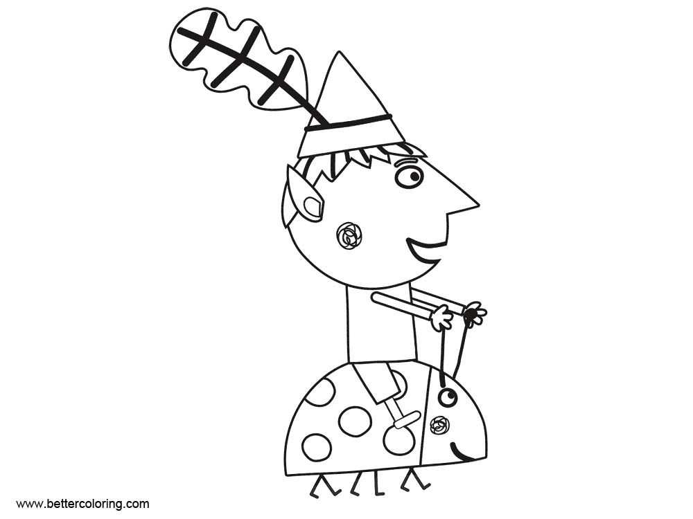 Free Ben And Holly Coloring Pages Ride on Ladybug printable