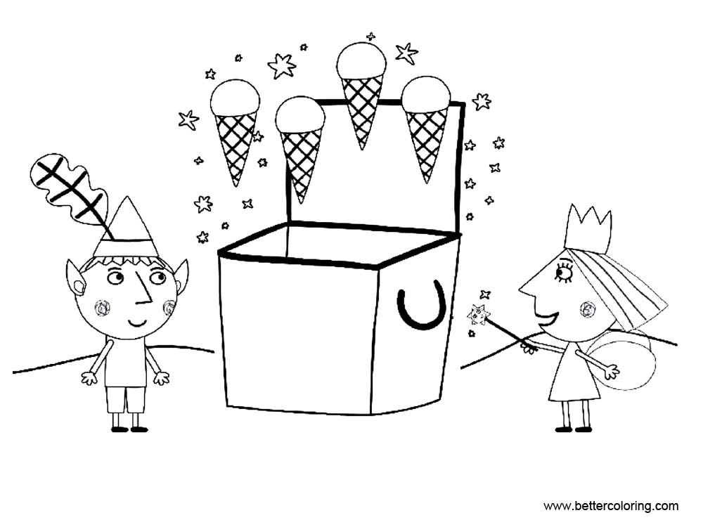Ben And Holly Coloring Pages With Ice Cream Magic Free Printable