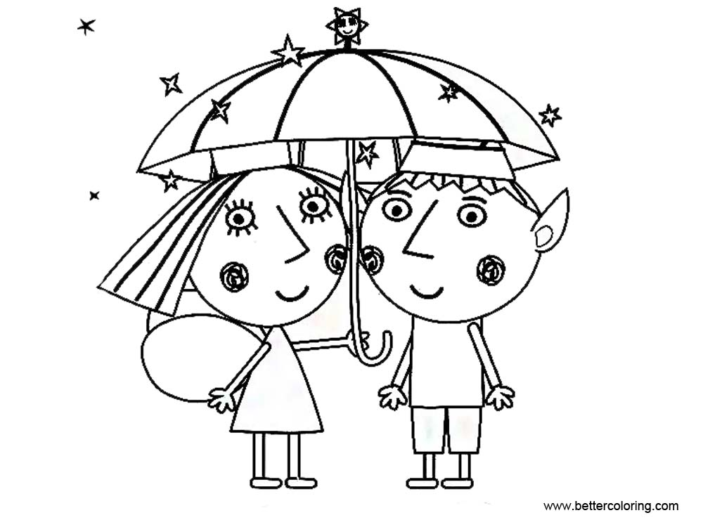Free Ben And Holly Little Kingdom Coloring Pages with Umbrella printable