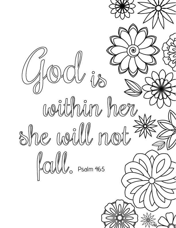 Free Bible Verse Coloring Pages God is Within Her printable