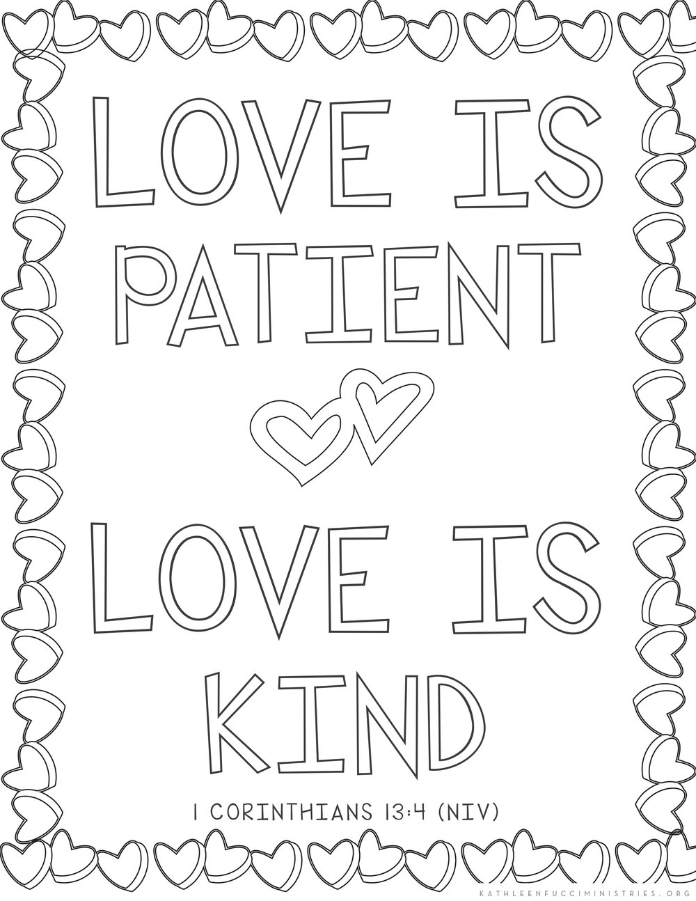 Free Bible Verse Coloring Pages Love Is Patient Love Is Kind printable