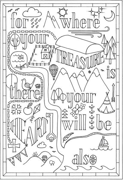 Free Bible Verse Coloring Pages Matthew 6 21 printable