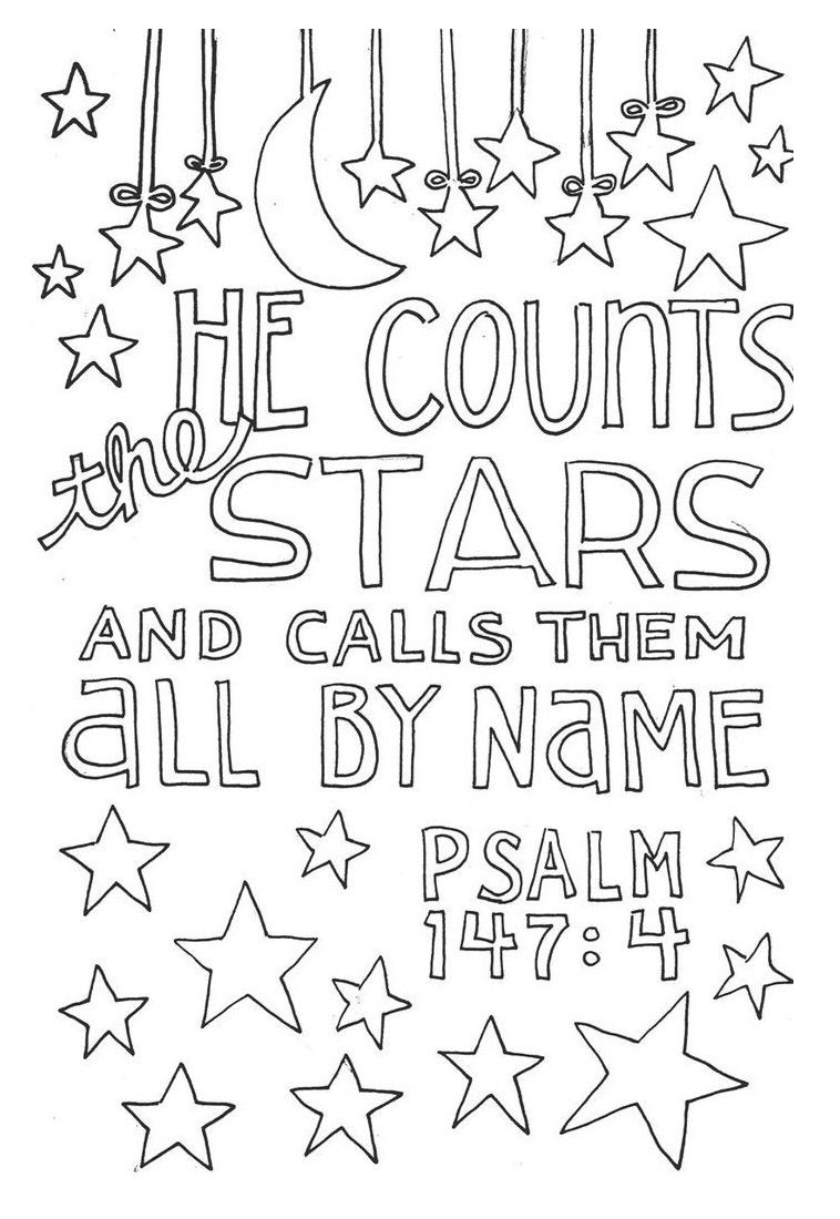 Bible Verse Coloring Pages Psalm 147 4 - Free Printable ...
