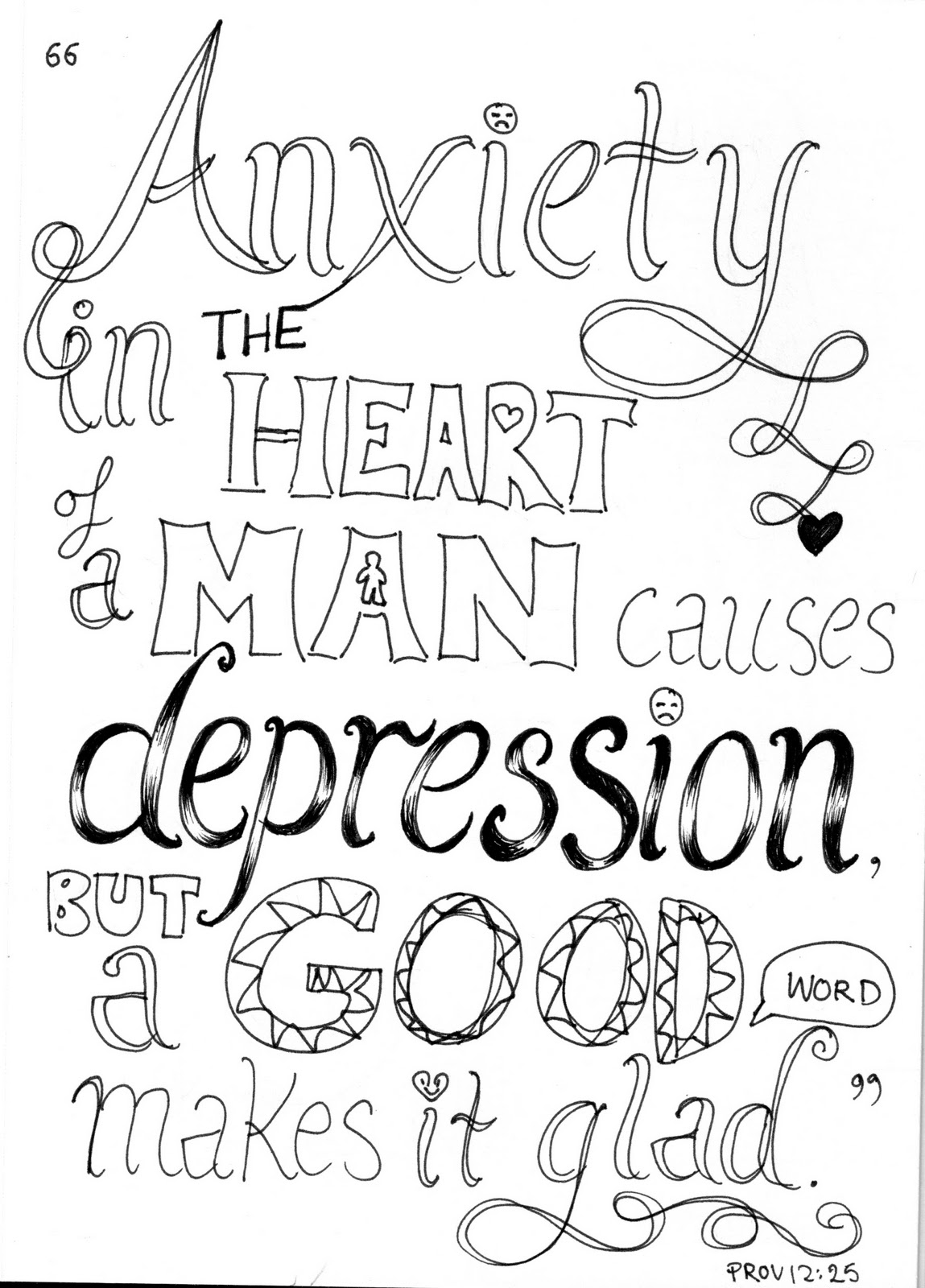 Free Bible Verse Coloring Pages Quote Anxiety in Heart printable