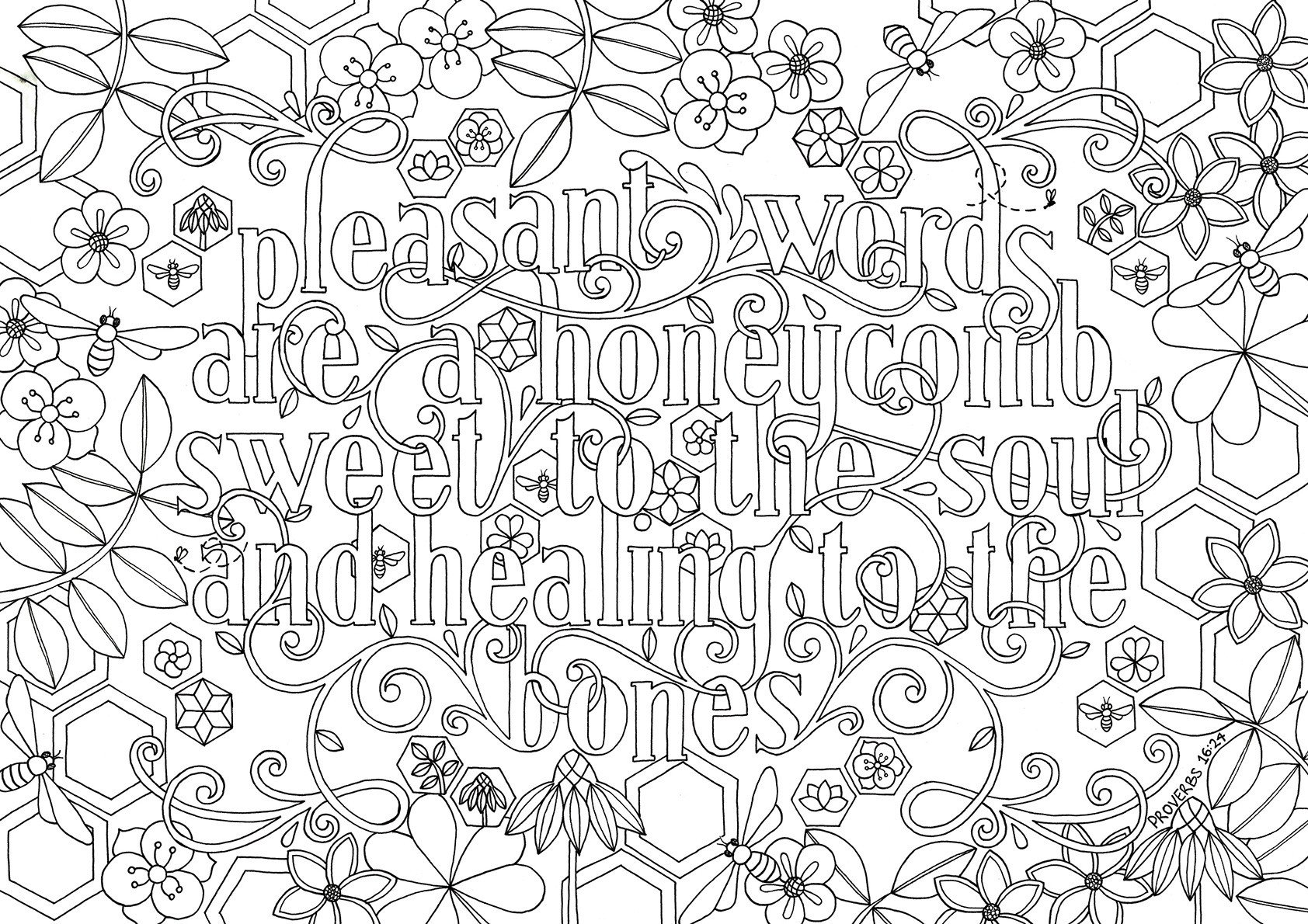 Bible Verse Coloring Pages Quote Pleasant words are a