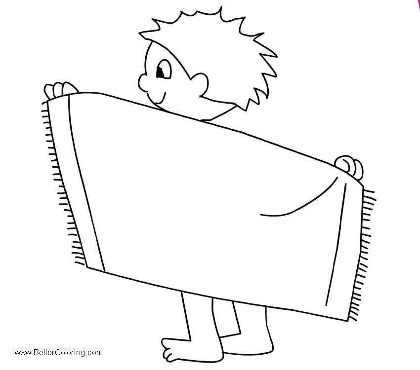 Free Boy with Beach Towel Clipart printable