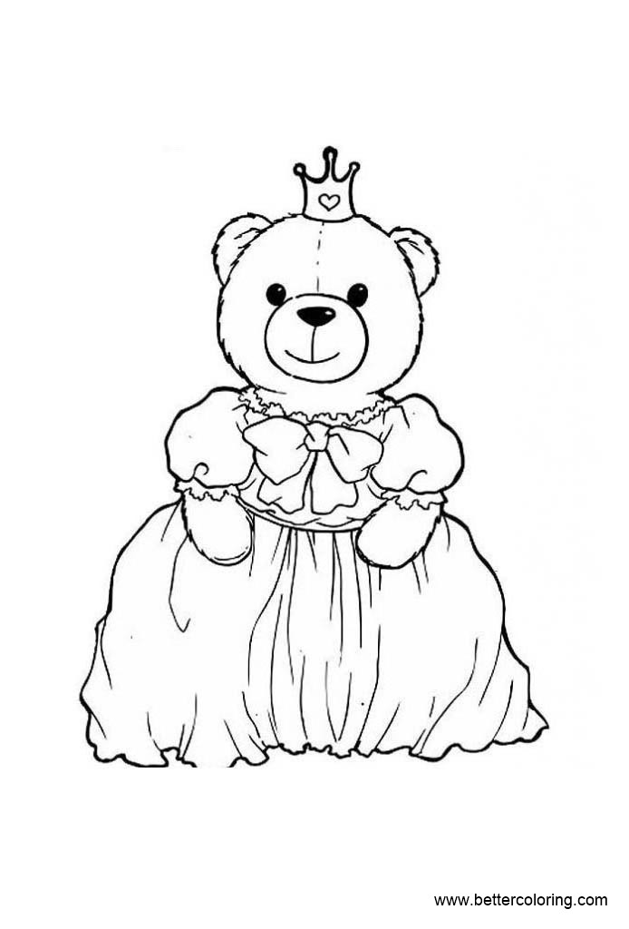 Free Build A Bear Coloring Pages Bear Princess printable