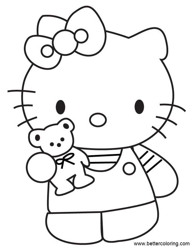 Free Build A Bear Coloring Pages Hello Kitty printable
