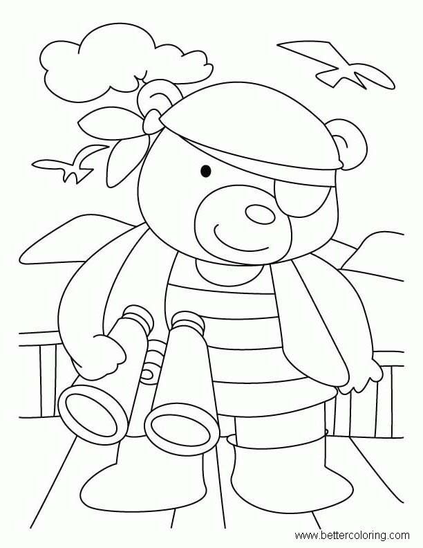 Free Build A Bear Coloring Pages Pirate Printable For Kids And Adults
