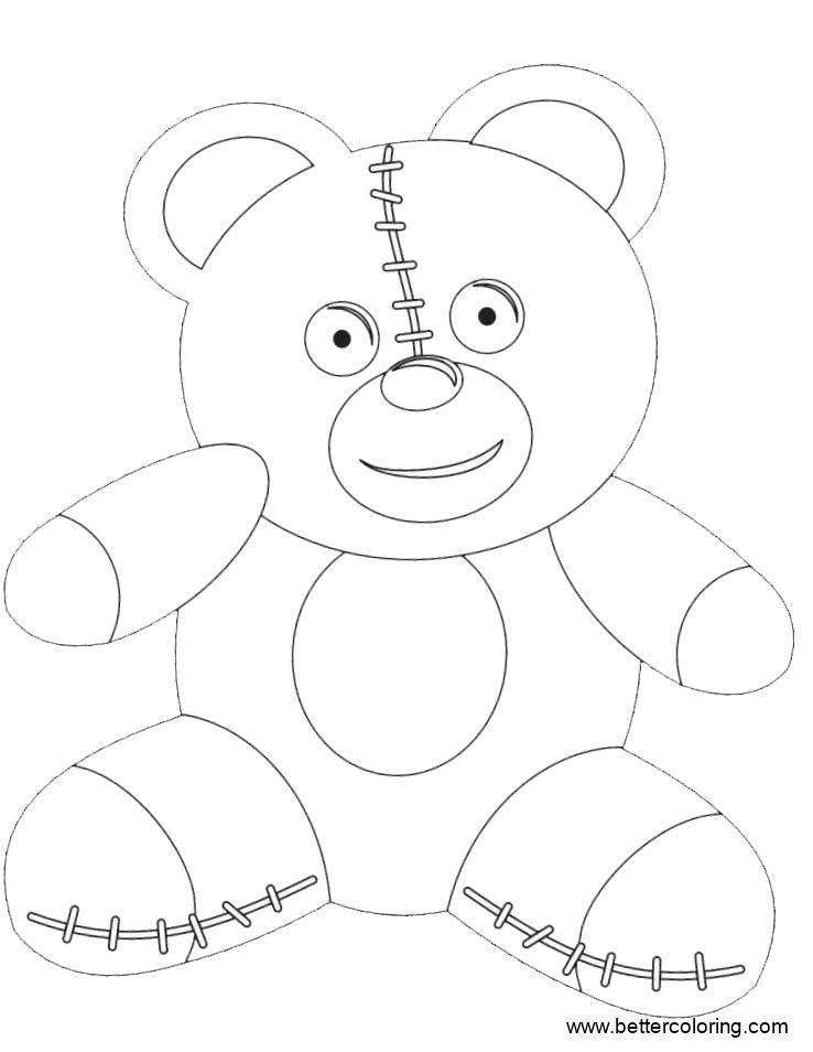 Free Build A Bear Coloring Pages Smile Bear Toy printable