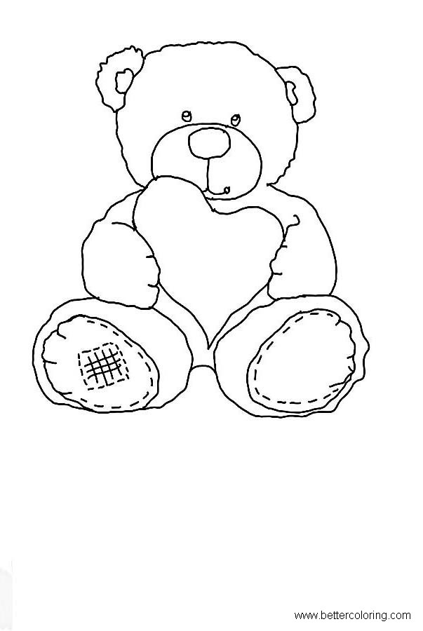 Free Build A Bear Coloring Pages Teddy Bear with Heart printable