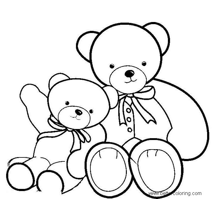 Free Build A Bear Coloring Pages Two Bears Lineart printable