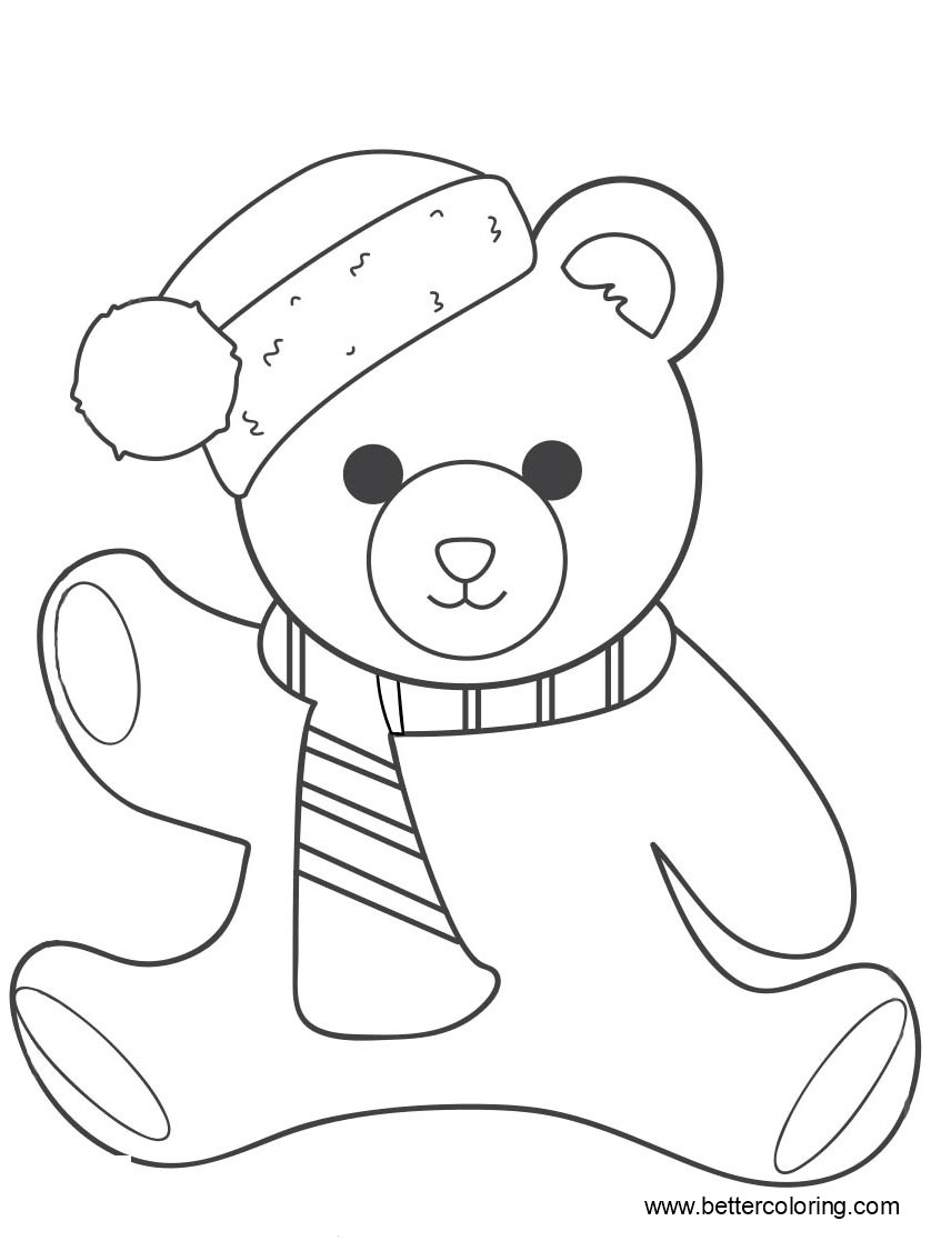Free Build A Bear Coloring Pages with Christmas Hat printable