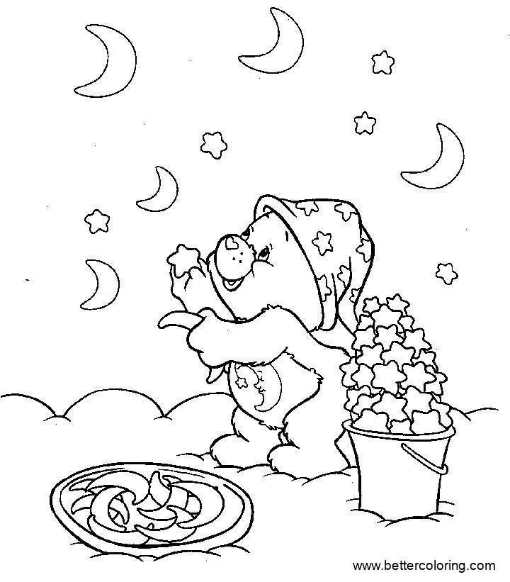Free Build A Bear Coloring Pages with Stars and Moons printable