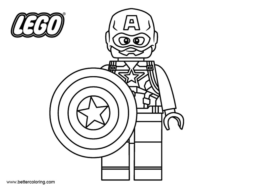 Lego Marvel Coloring Pages To Download And Print For Free: Captain America From LEGO Superhero Coloring Pages