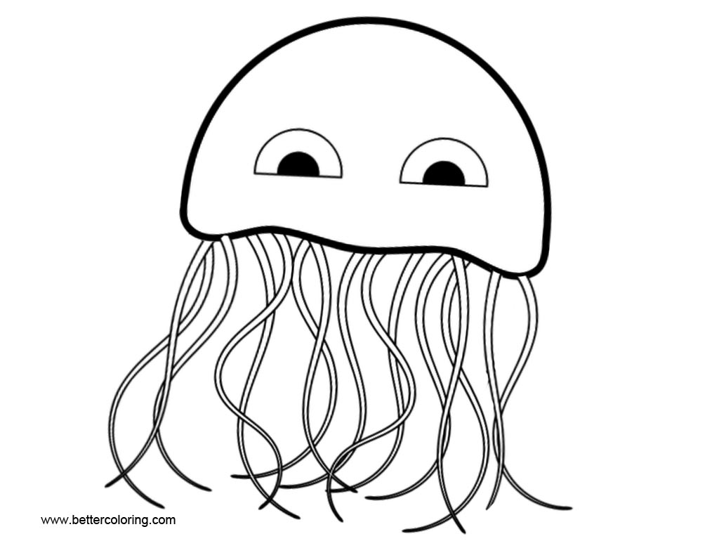Free Cartoon Jellyfish Coloring Pages Clip Art printable