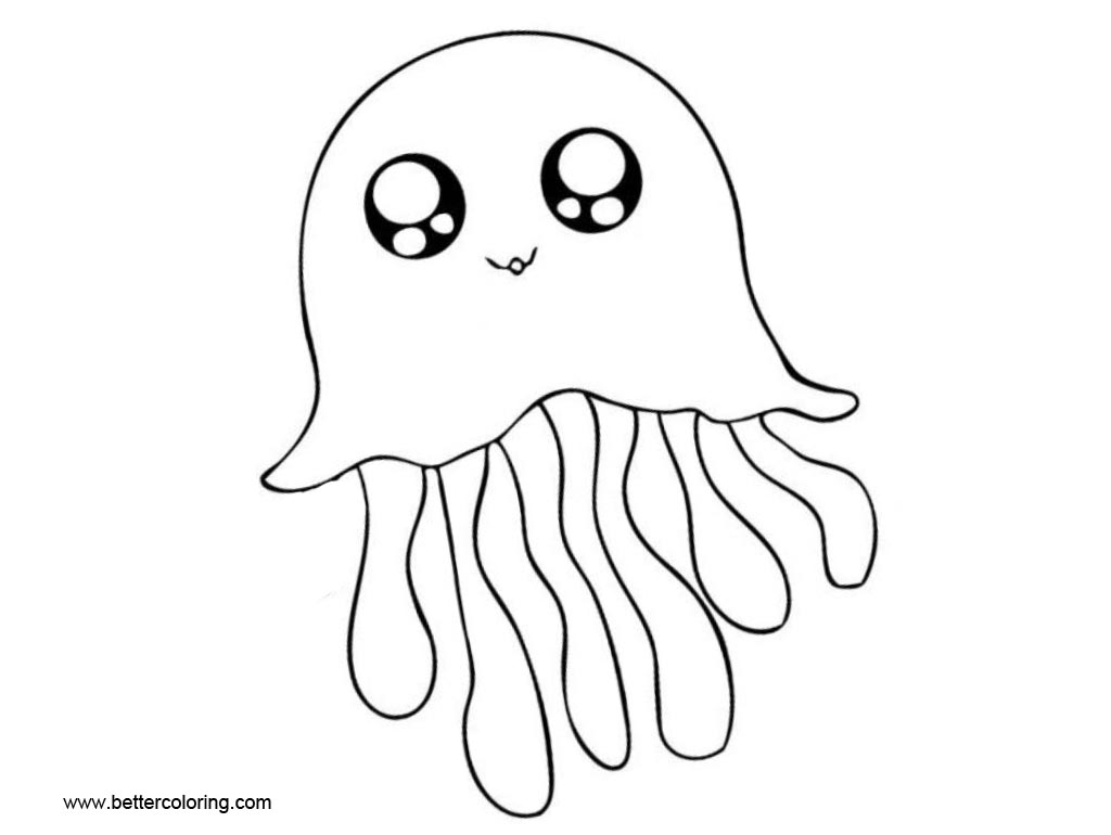 Free Cartoon Jellyfish Coloring Pages with Eyes printable