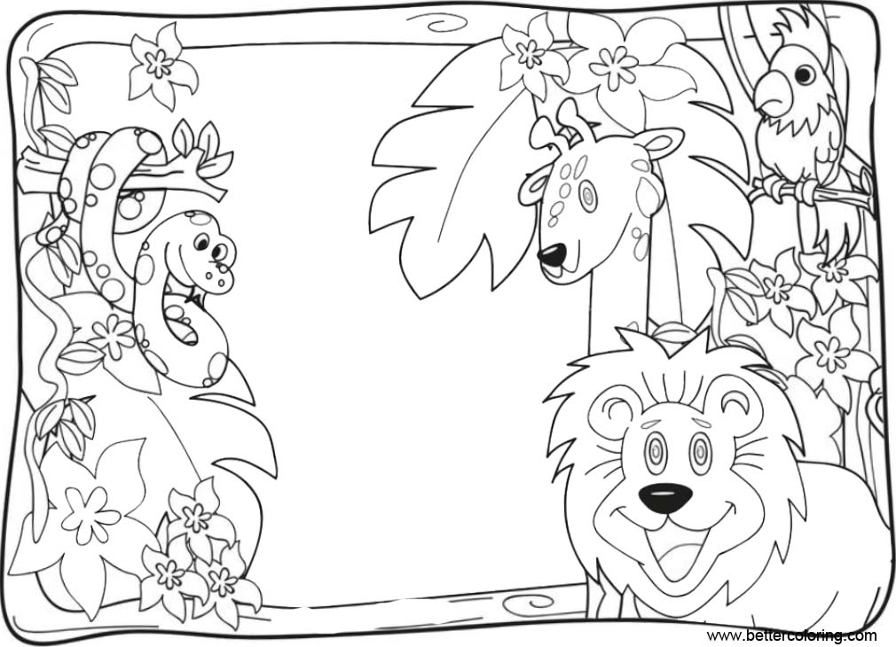 Free Cartoon Jungle Coloring Pages Animals printable