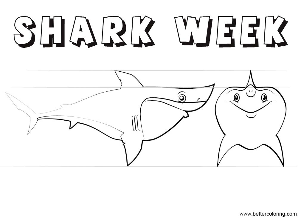 Cartoon Shark Week Coloring Pages Free Printable Coloring Pages