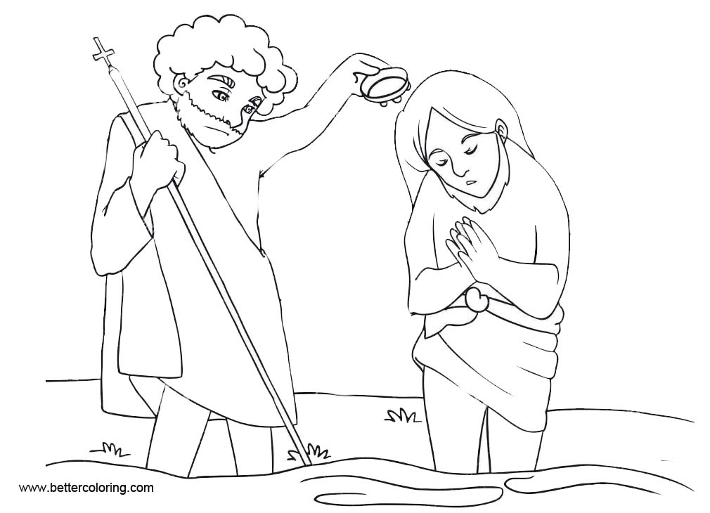 Free Catholic Baptism Coloring Pages Line Art printable