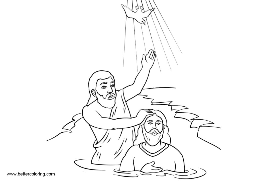 Free Catholic Baptism Coloring Pages Line Drawing printable