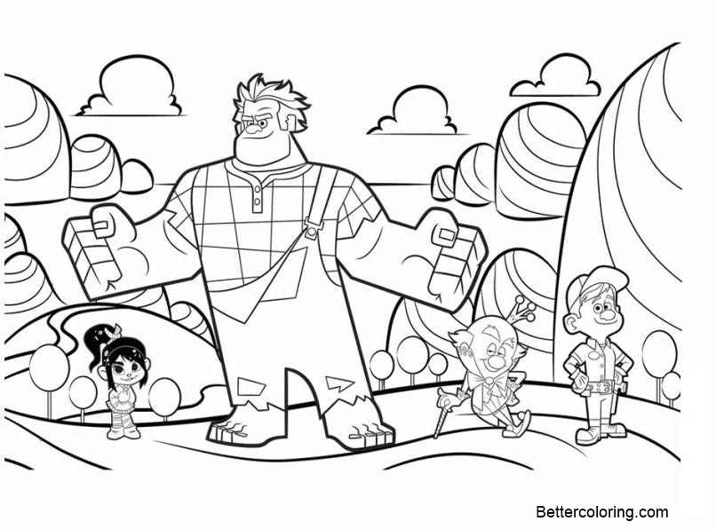 Free Characters from Wreck It Ralph Coloring Pages printable