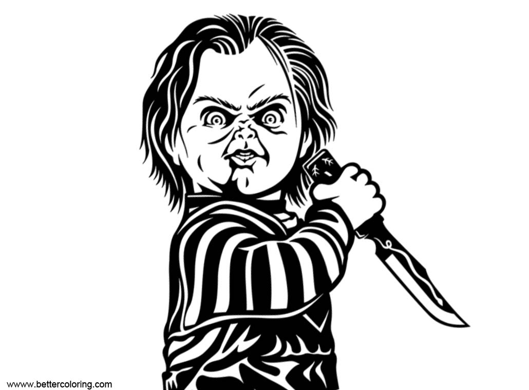 Free Chucky Coloring Pages Black and White printable