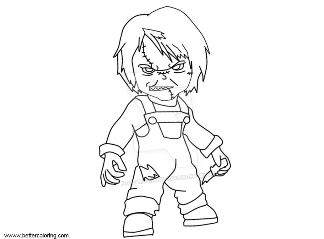 Free Chucky Coloring Pages Chucky in paint by xXblakdiosXx printable