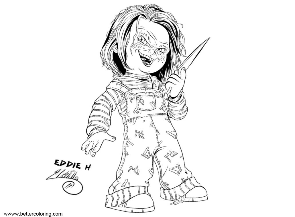 Free Chucky Coloring Pages Ink by SWAVE18 printable