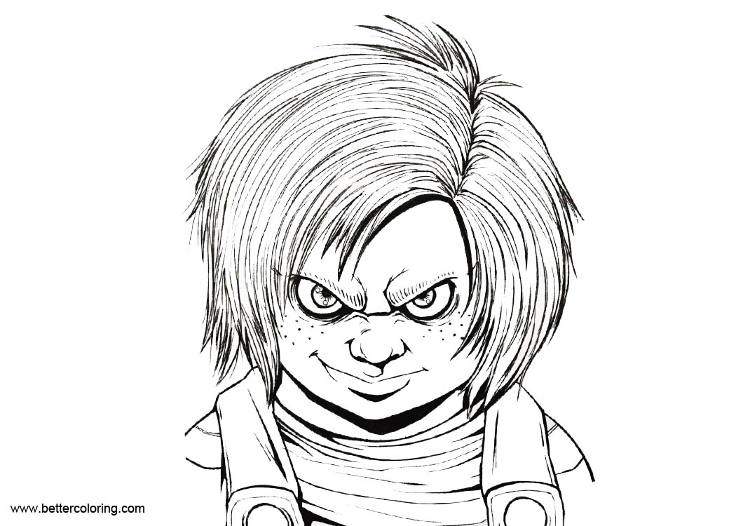 Chucky Coloring Pages Inking Drawing Free Printable