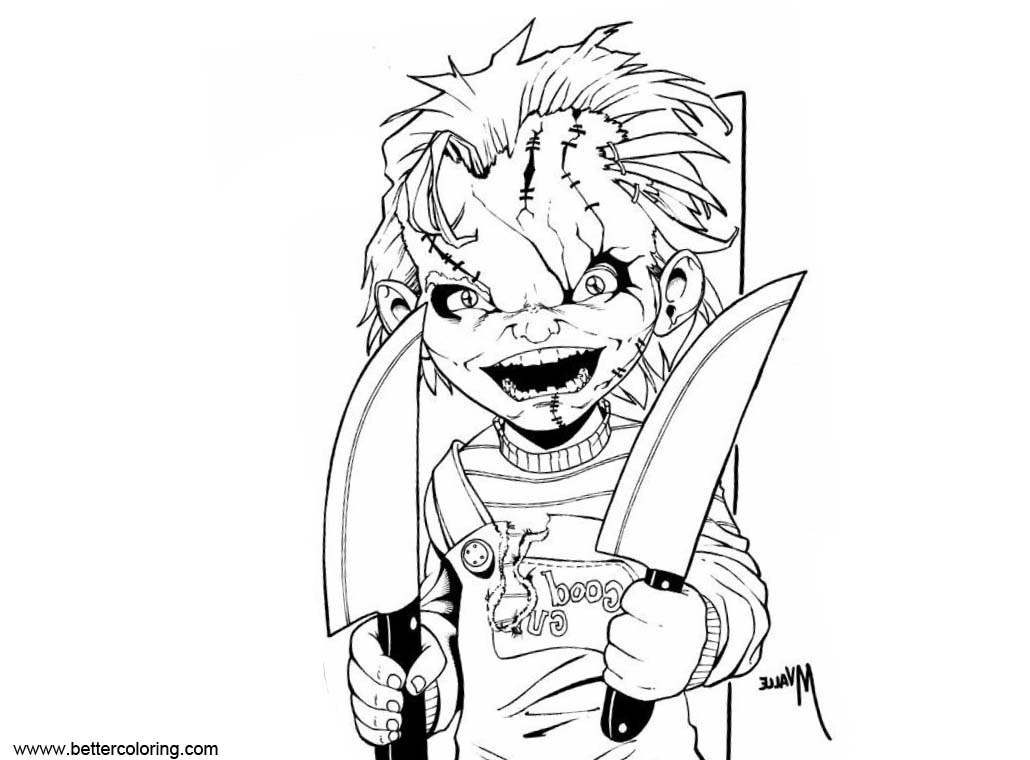 Free Chucky Coloring Pages Line Art printable