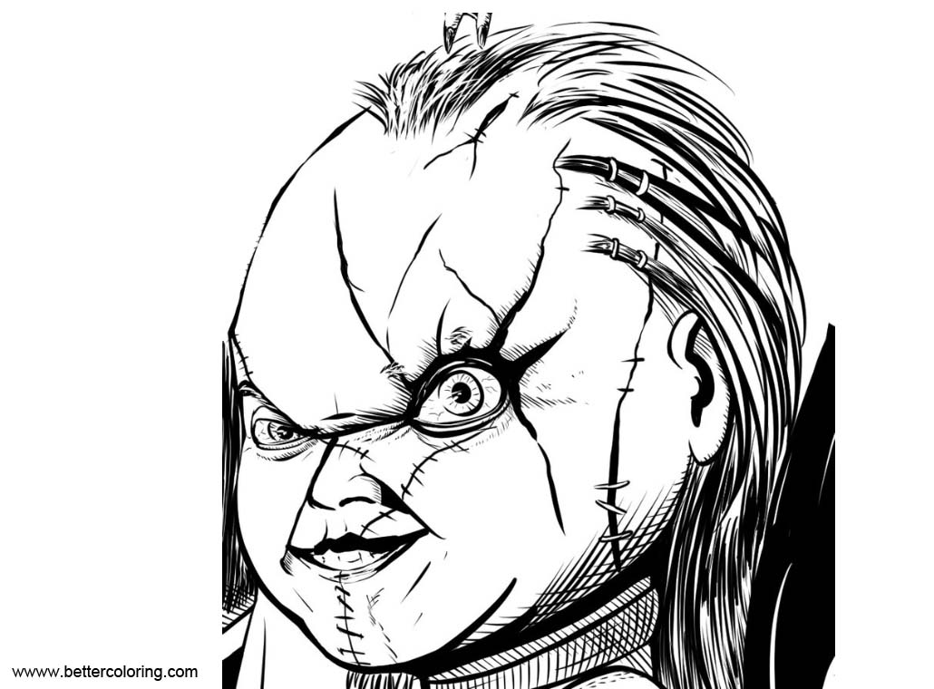 Free Chucky Coloring Pages Play Chucky Face by DougSQ printable