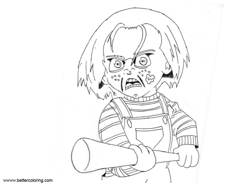 Free Chucky Coloring Pages With A Baseball Bat by captstar1 printable