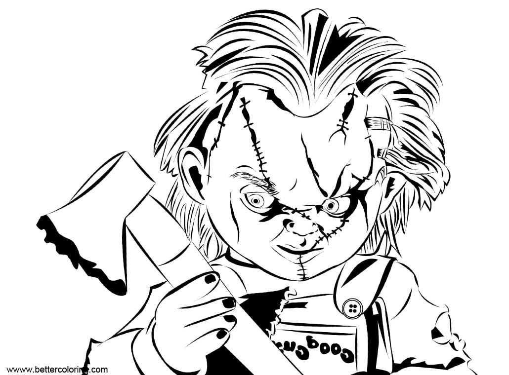 Free Chucky Coloring Pages with Axe printable