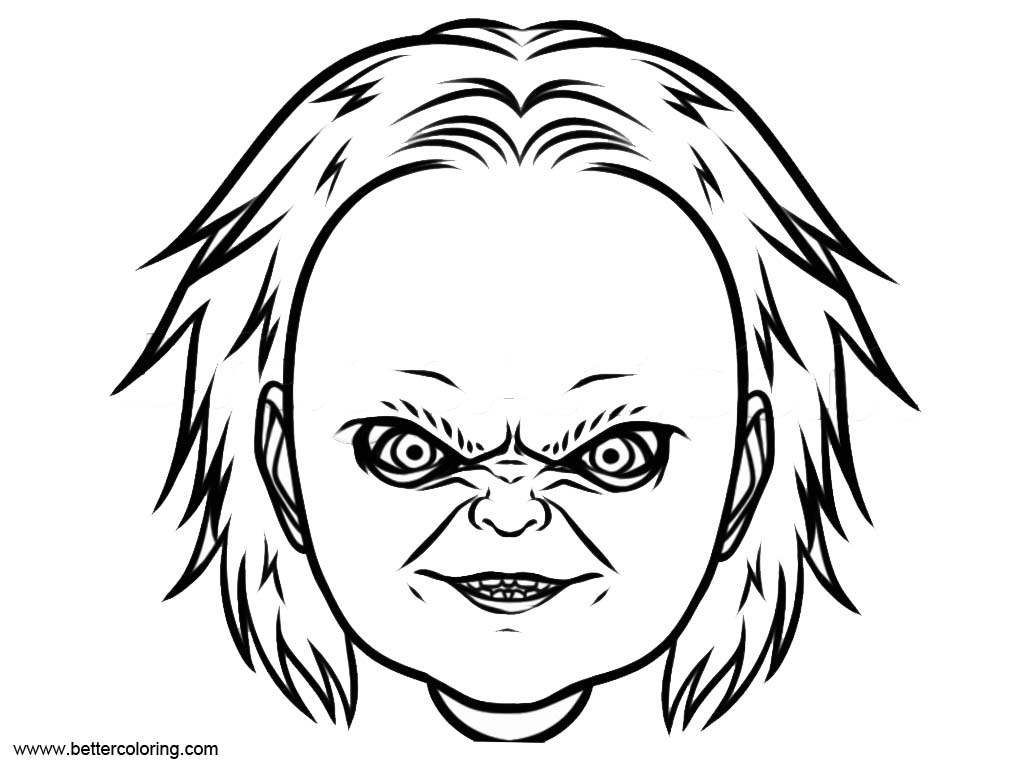 Free Chucky Head Coloring Pages printable