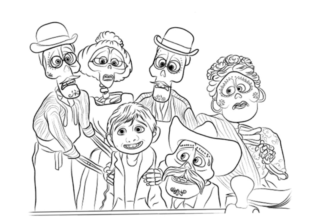 Disney Movie Coco Coloring Pages Characters Miguel And