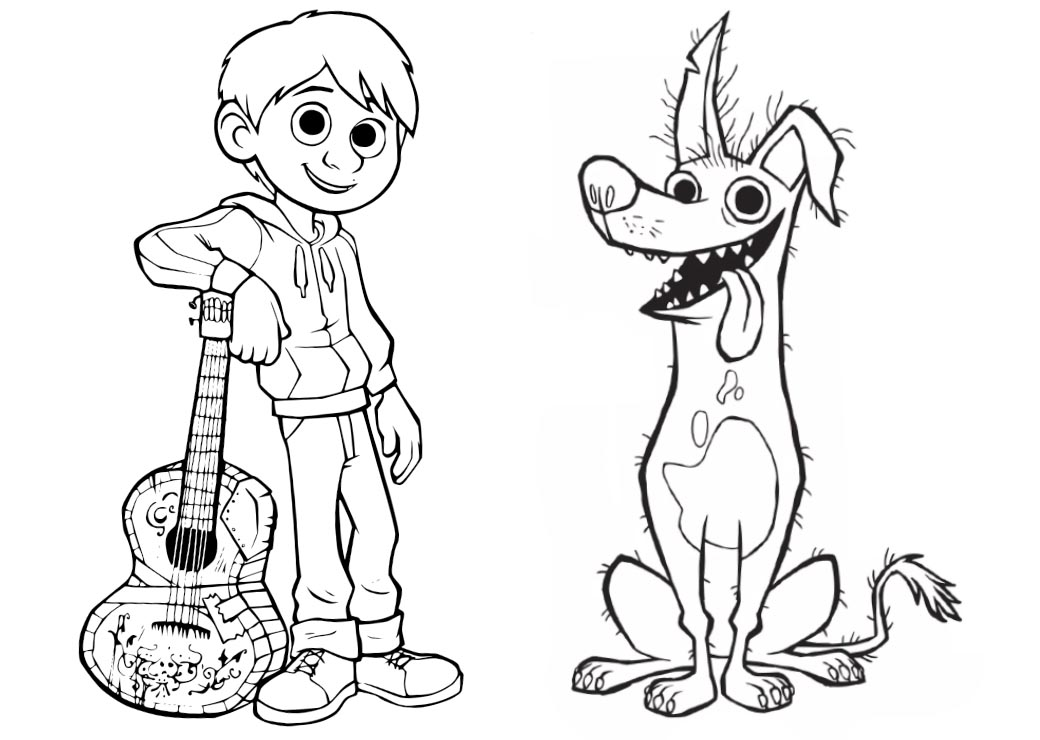Disney Movie Coco Coloring Pages Miguel And Dante Dog