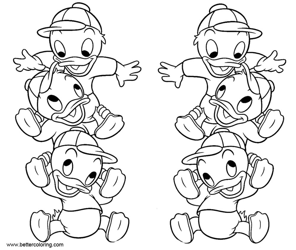 Free DuckTales Coloring Pages Baby Ducks printable