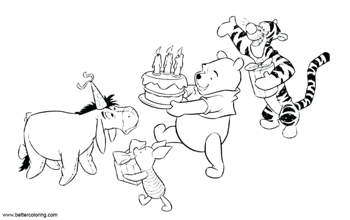 Free Eeyore Coloring Pages Happy Birthday printable