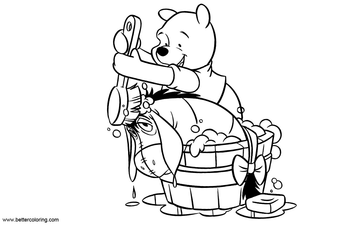 Free Eeyore Coloring Pages Take A Bath printable