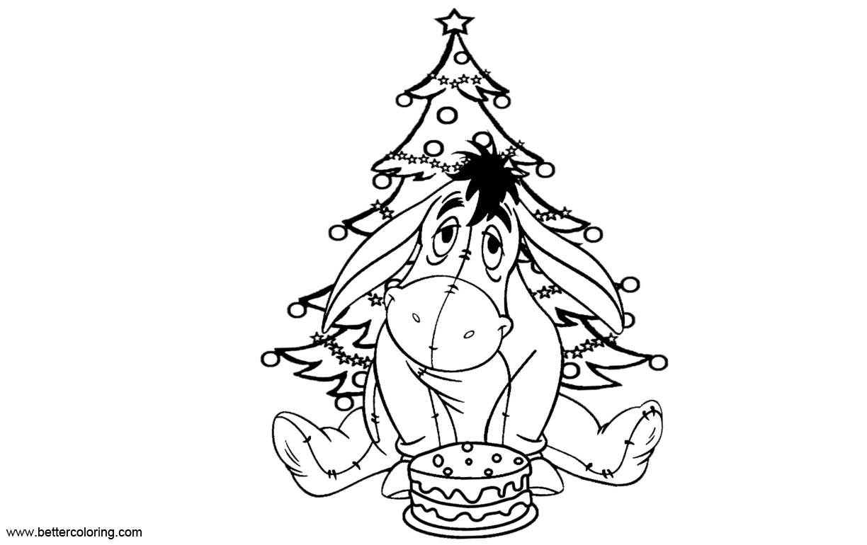 Free Eeyore Coloring Pages with Christmas Tree printable
