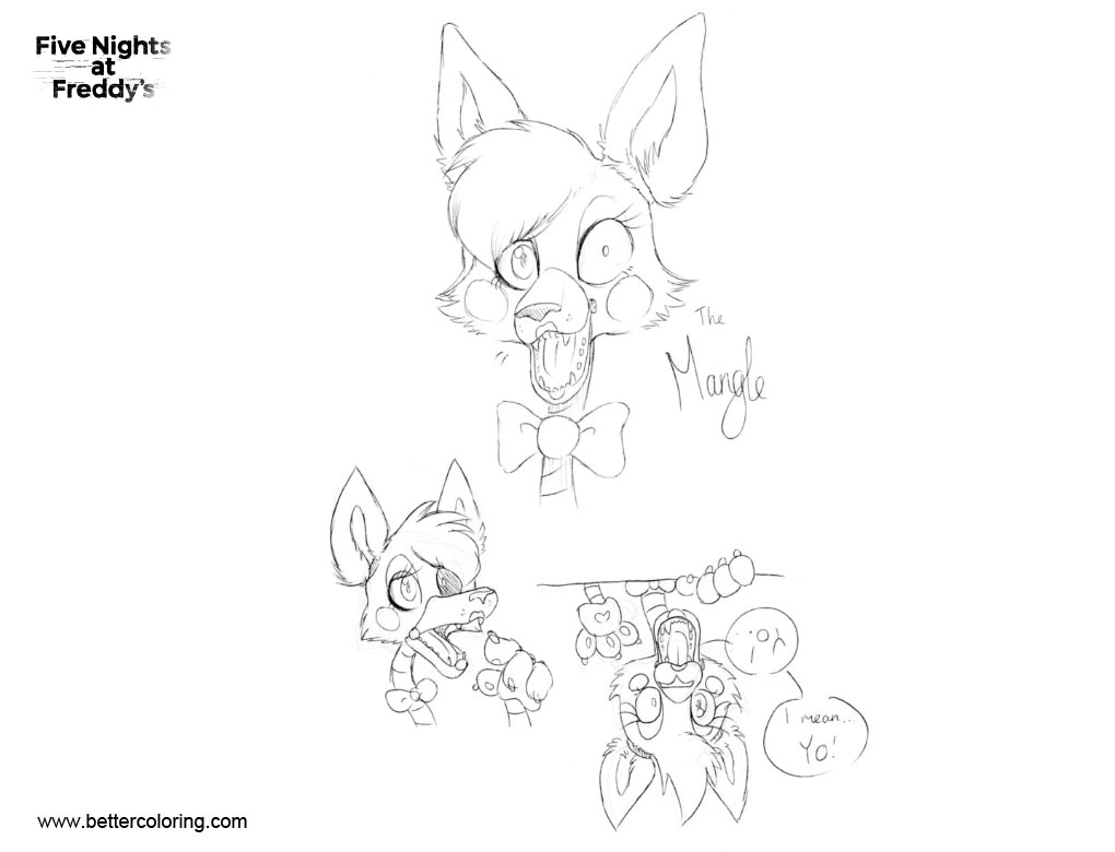 Free FNAF 2 Coloring Pages Mangle Sketches by GAYSONICfan123 printable