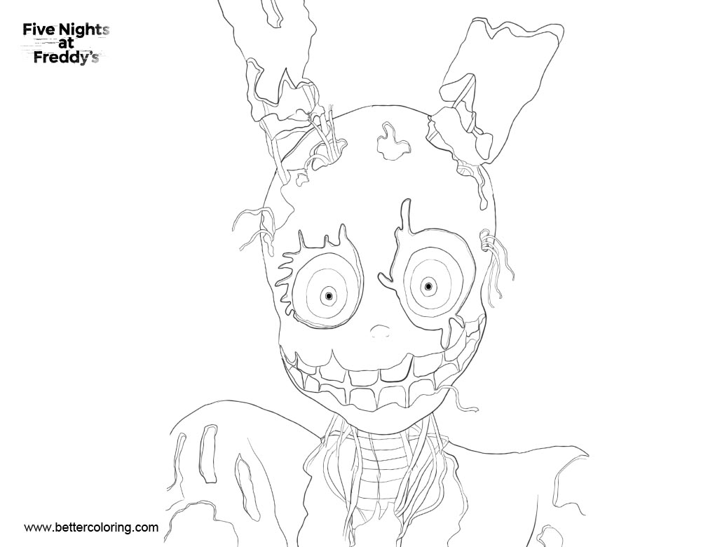Free FNAF 3 Coloring Pages Line Art by ConnyNee printable