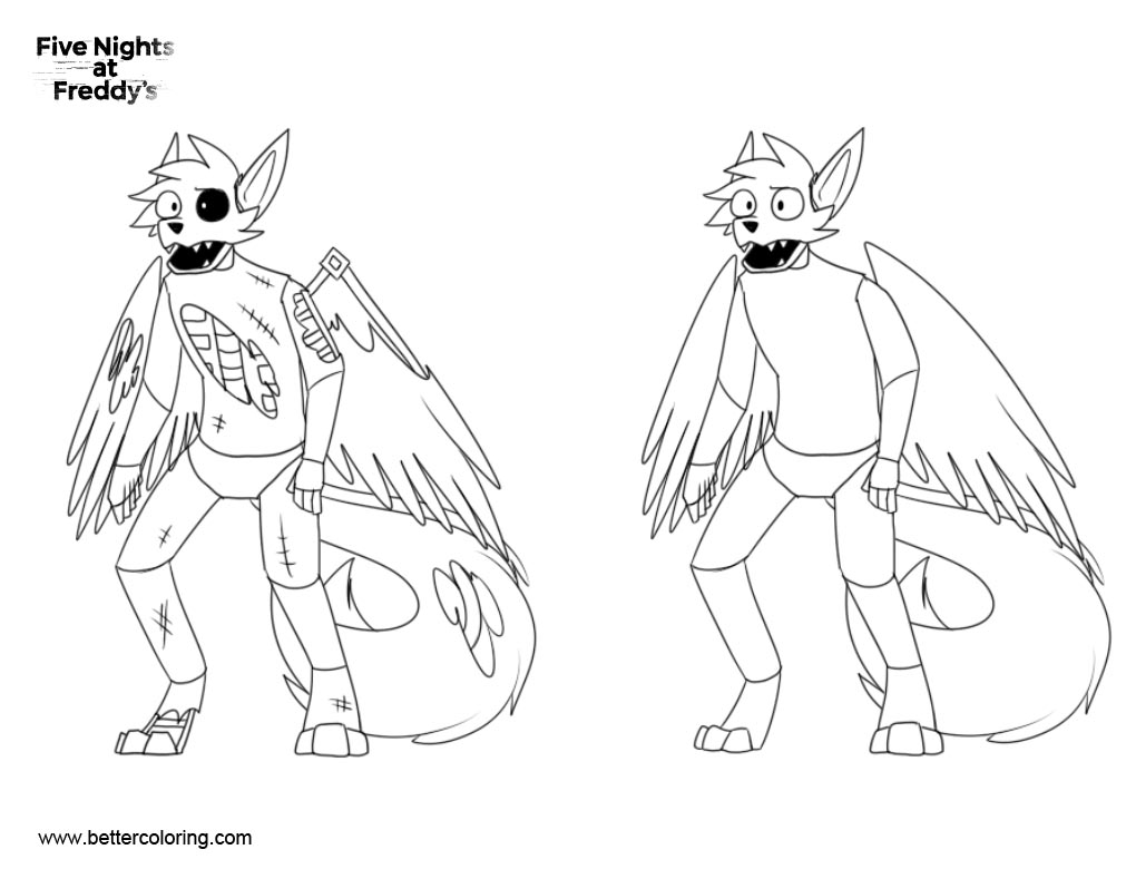 Free FNAF Coloring Pages Animatronic Sly comparisons by Slyvern printable