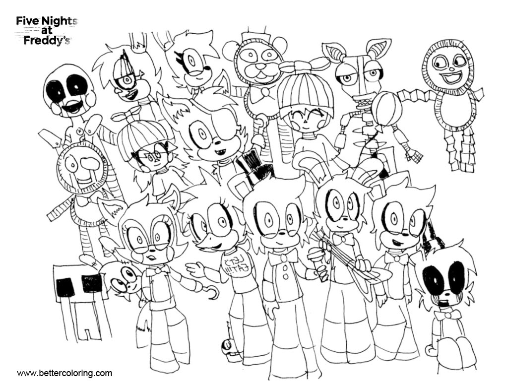 FNAF Coloring Pages Characters Line Art - Free Printable Coloring Pages