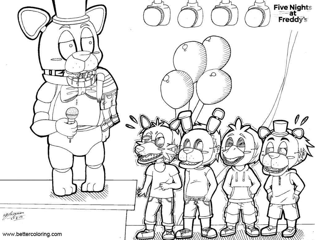 Free FNAF Coloring Pages Chibi Bite printable