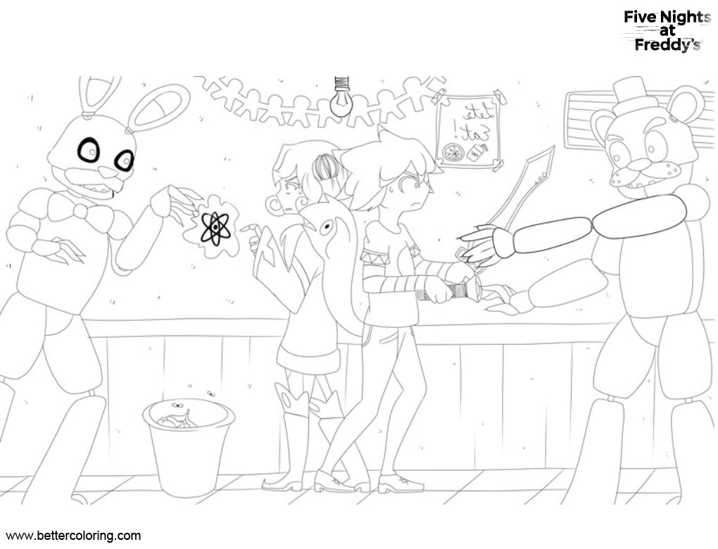 Free FNAF Coloring Pages Collab ShadowTailsDerol by Crymsie printable