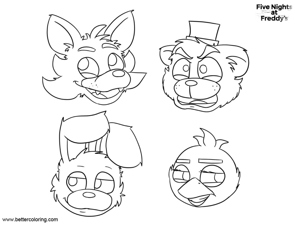 photo relating to Fnaf Coloring Pages Printable identified as FNAF Coloring Web pages 5 Evenings At Freddys Bonnie Cunning