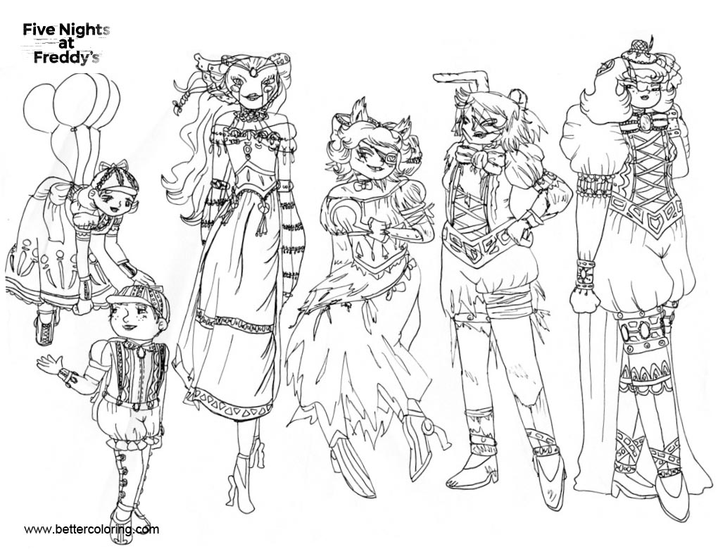 Free FNAF Coloring Pages Girls Inked by Kittybags printable